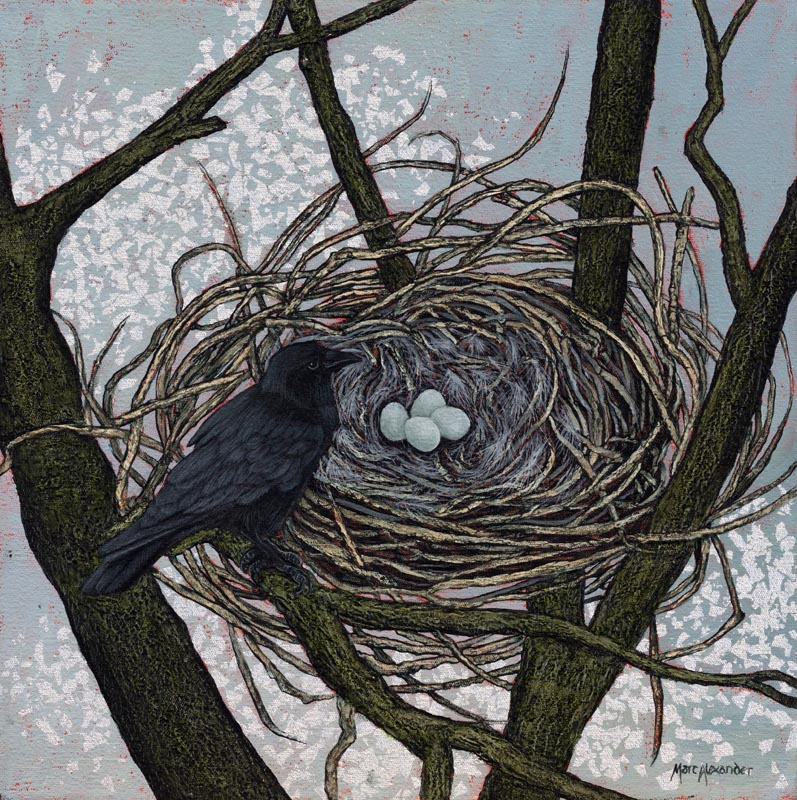 Crow's Nest by Marc Alexander from his 'The Secret Forest Series', oil and silver leaf on canvas, 40cm by 40cm, (2014)