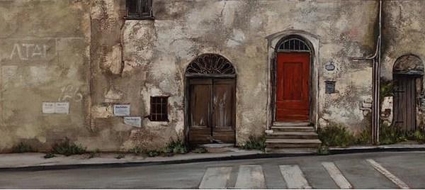 Dolcedo (678) by Donna Mckellar, oil on canvas, 50cm by 150cm