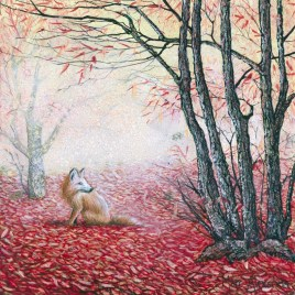 The Red Carpet by Marc Alexander from his 'Secret Forest Series', oil on wooden panel, 17cm by 17cm. (2014).