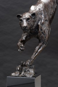 The Studio Art Gallery - Richard Gunston Sculptures - Life size Leopard descending a rock face by Richard Gunston
