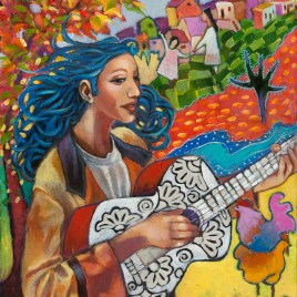 The Studio Art Gallery - Minstrel Girl with Silver Guitar by Bonnie Serjeant