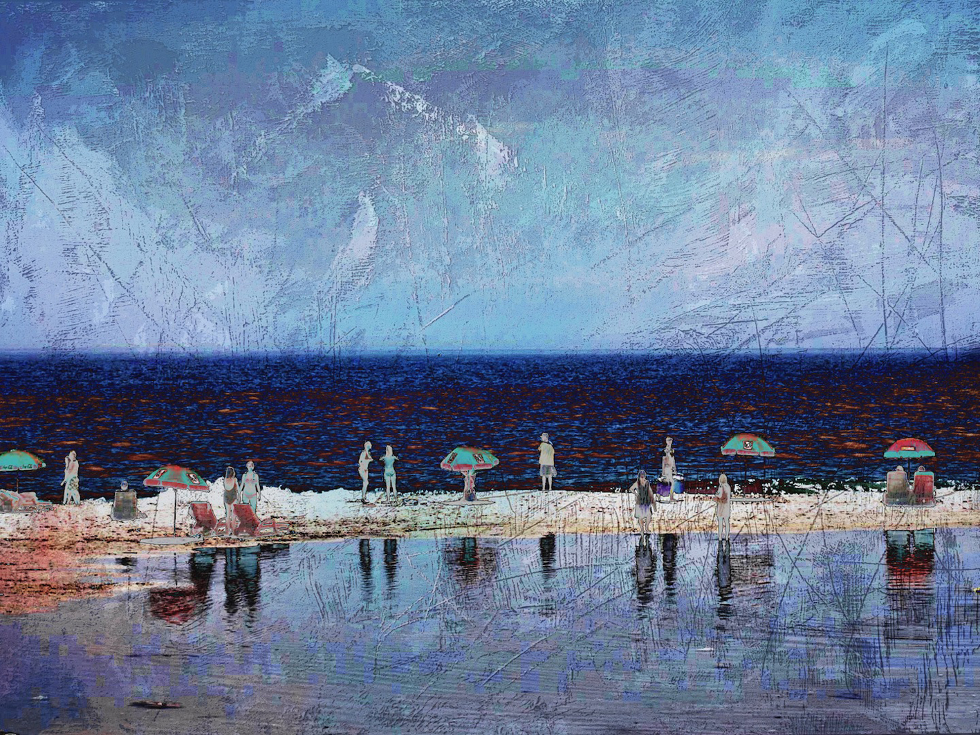 The Studio Art Gallery - Edge of Blue - Summertime by Robyn Schoon - Digital Mixed Media