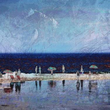 The Studio Art Gallery - Edge of Blue - Summertime by Robyn Schoon - Digital Mixed Media