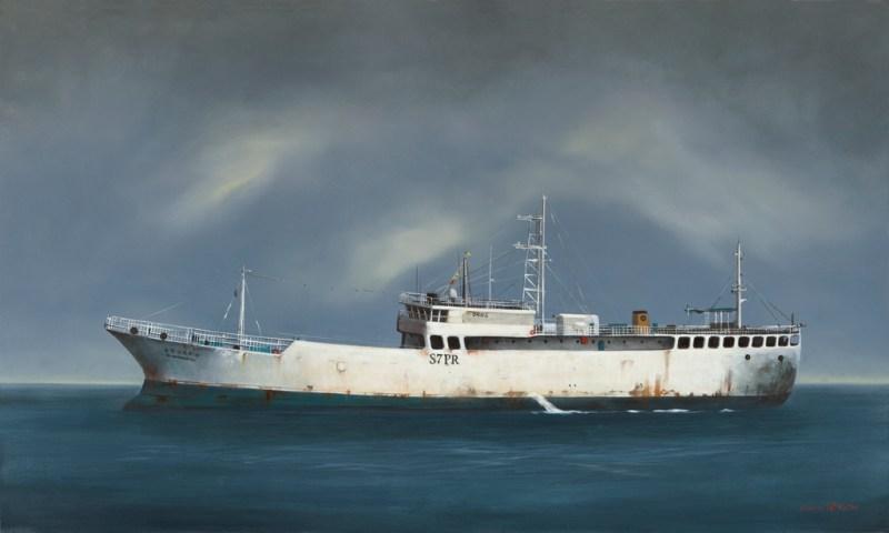 The Studio Art Gallery - Tanker In White 855 by Donna McKellar