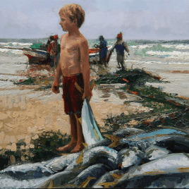 The Studio Art Gallery - Fishing Boy by Lynne-Marie Eatwell