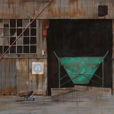 Donna McKellar   The Studio Art Gallery   Unpetrified - Wheelbarrow and Warehouse 756