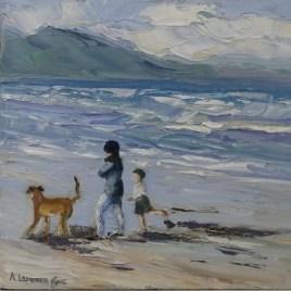 The Studio Art Gallery   2021 Mandela Day Block Art Exhibition   Anita Fuchs - Walking The Dog