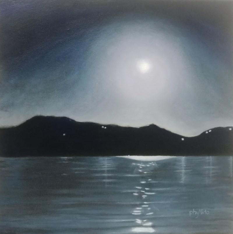 The Studio Art Gallery   2021 Mandela Day Block Art Exhibition   Phyllida Louw - Moonrise Over Sea II