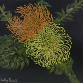 The Studio Art Gallery   2021 Mandela Day Block Art Exhibition   Sally Perrot - Orange and Yellow Pincushion