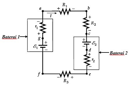 arah arus rangkaian baterai resistor