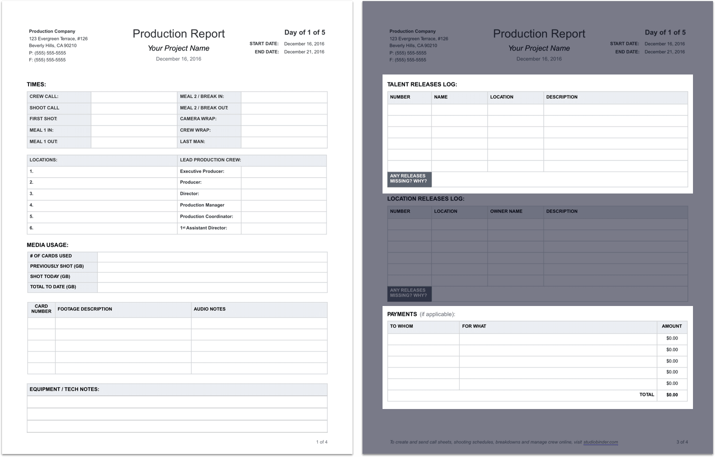Daily Production Report Template - Tear Sheet - Studiobinder