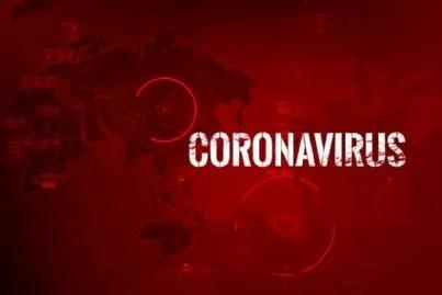 coronavirus con sfondo rosso e cerchi