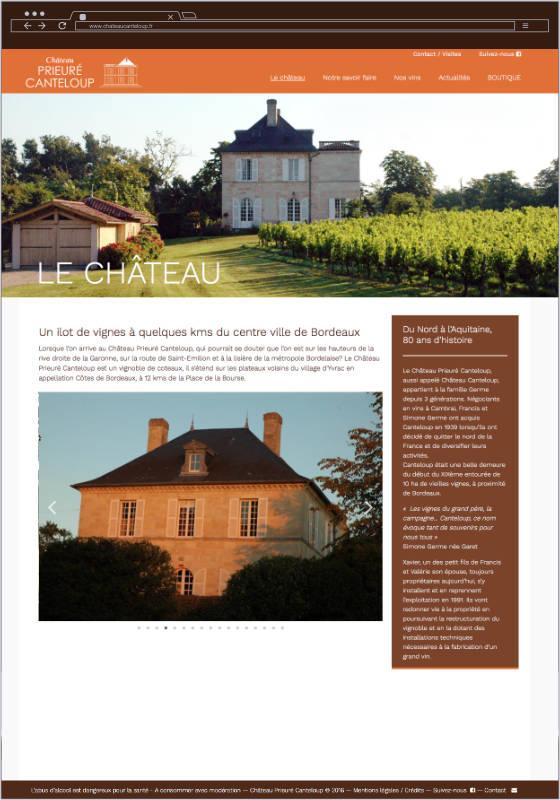 Château Prieuré Canteloup - Site e-comerce conçu et réalisé par l'agence CAUM, spécialiste WordPress à Bordeaux.