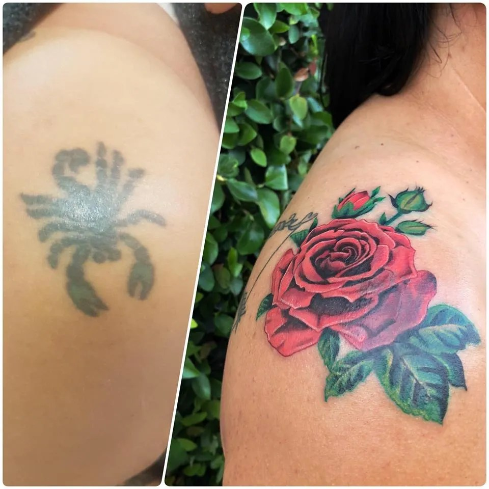 Black And Grey Rose Tattoo Cover Up