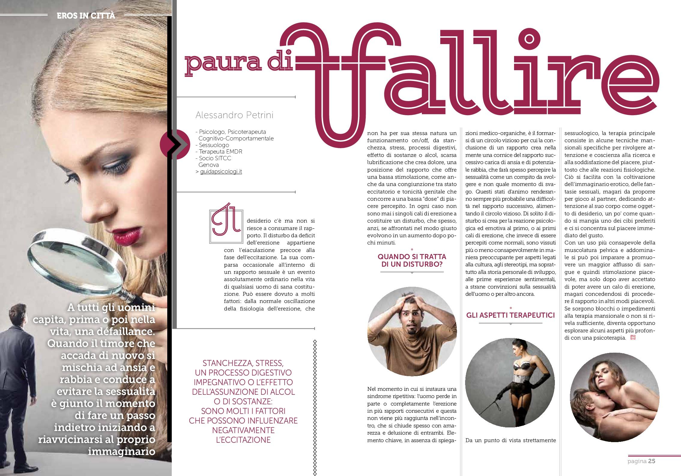 Difficoltà di Erezione, articolo uscito su rivista Pharmamagazine