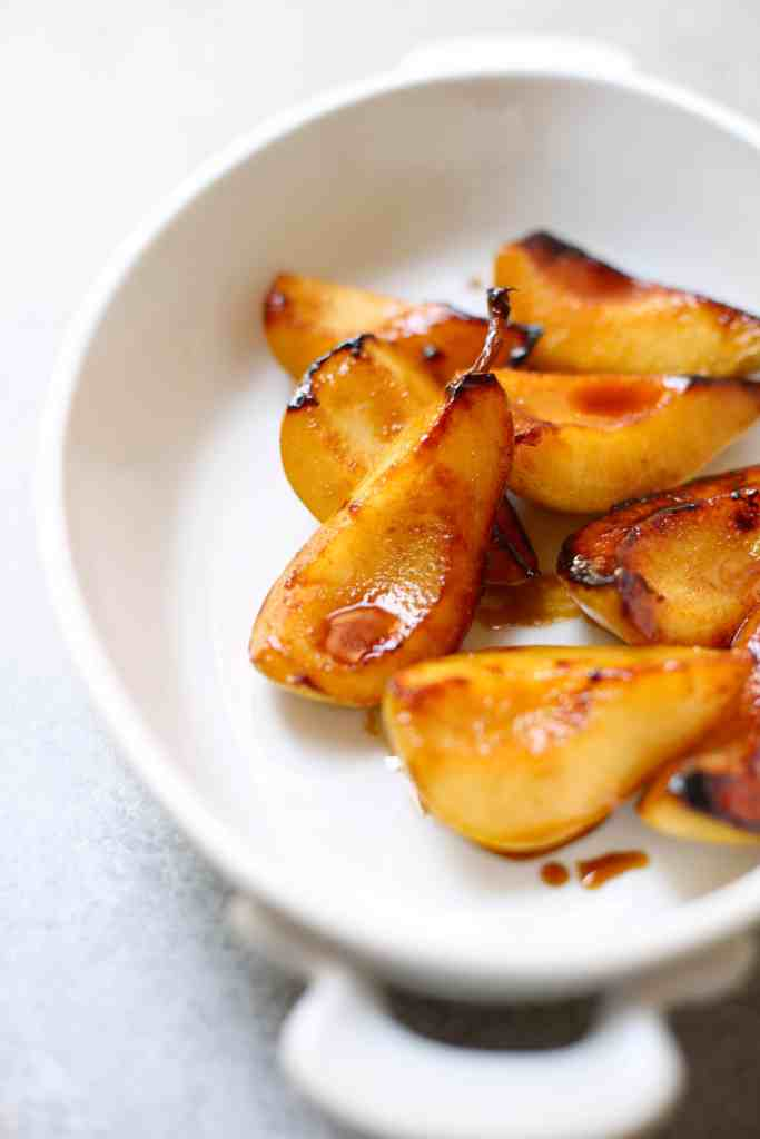 Pan Roasted Pears in a white serving dish