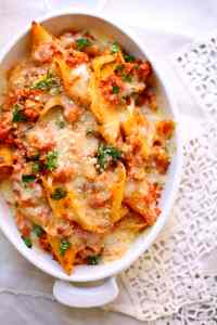 baked pasta in a whkite casserole dish