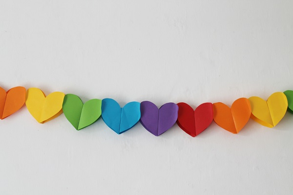 DIY Rainbow Paper Heart Garland