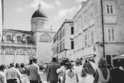 A wedding party in the streets of Dubrovnik during the Dubrovnik Wedding