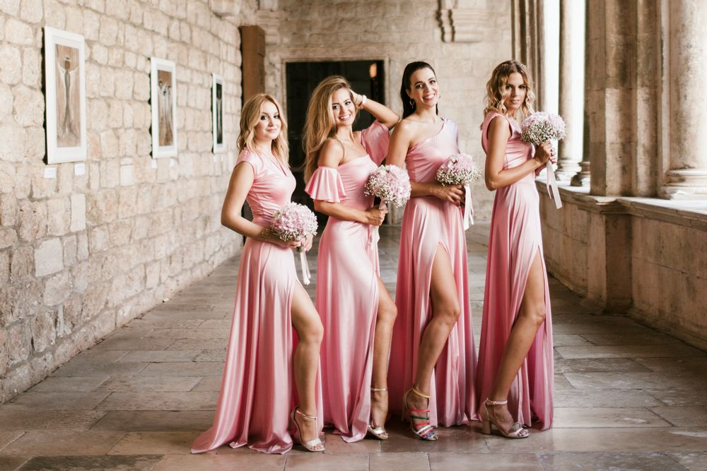 Bridesmaids posing at Croatian traditional Wedding