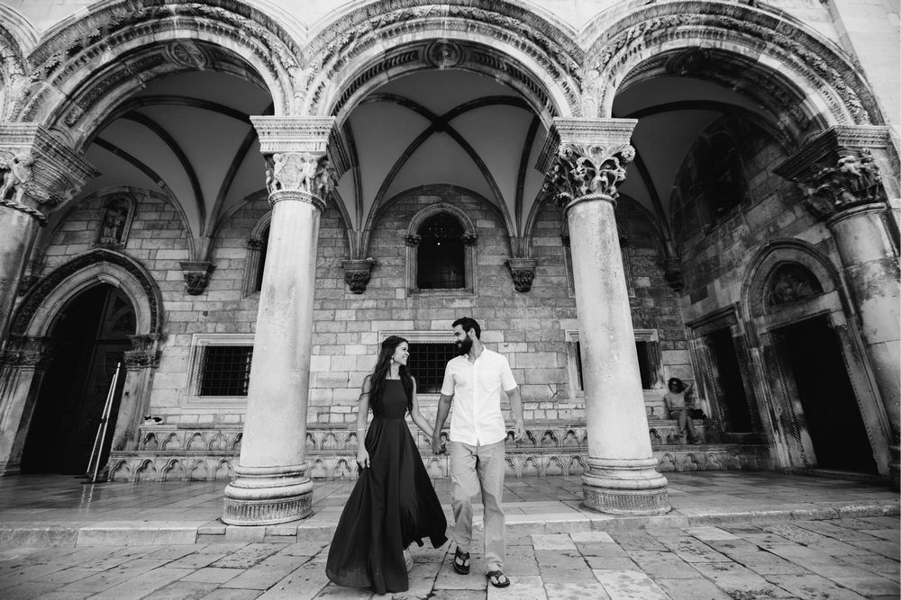 a couple in love during their after wedding shoot in the Old City of Dubrovnik