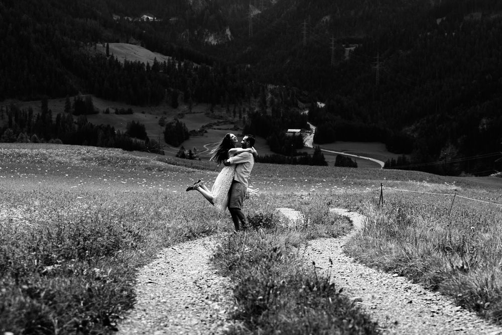 Switzerland wedding photographer and videographer capturing emotional moments during photo session.