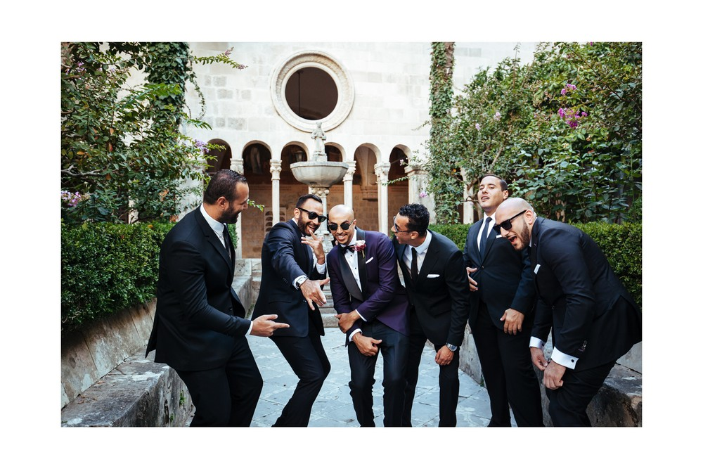 Groom with Groomsmen and Ushers before getting married in Dubrovnik
