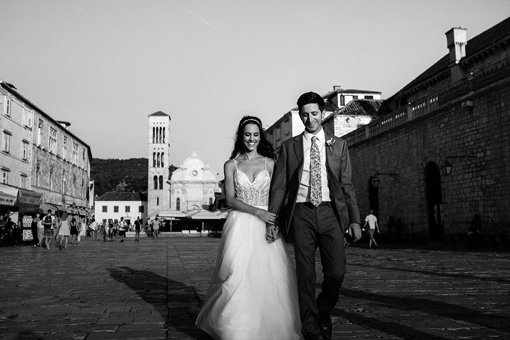 Bride and groom in the old town of Hvar