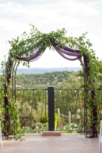Archway and hill country view
