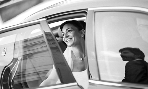 wedding planner in london - bride in car