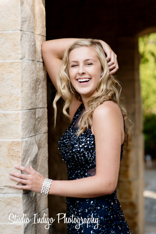 Not sure what Jen said to get this laugh but it worked.  Beautiful portrait of becca in her prom dress laughing.  Becca is a junior at Verona High School and this photo was taken in her prom dress for the 2016 Verona Junior Prom.