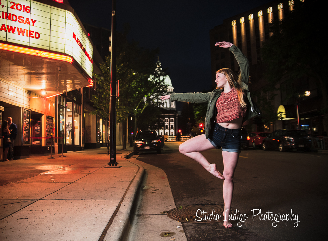 Jenna is a very talented dancer and showed her stuff holding this pose in bare feet.  No pain, no gain and we love how this senior picture turned out with the state capital in the background in downtown madison, wi.