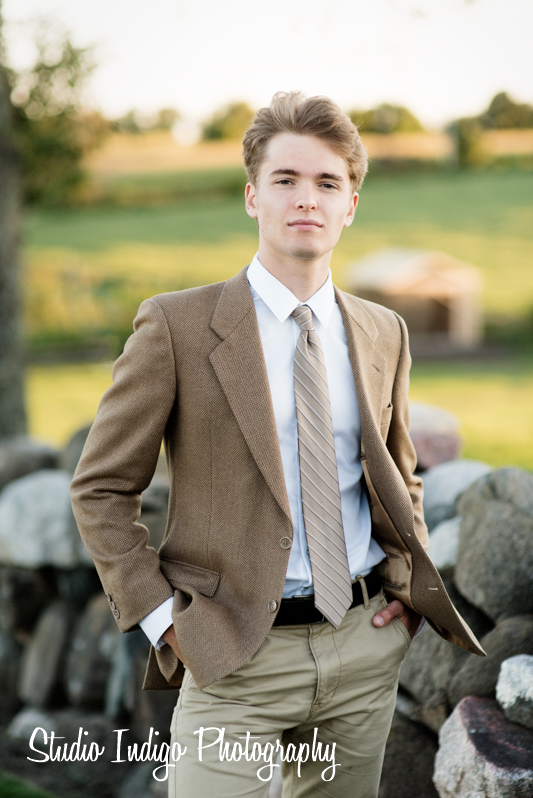 A clean shaven Henry looks straight out of GQ for this formal senior picture. Henry is a senior at Madison West and wanted to have his senior pictures at Pope Farm Park in Middleton, WI.