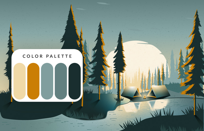 Color palette Camping on the lake Illustration