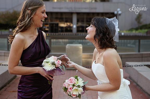 small wedding, Minneapolis elopement, city hall, plum bridesmaid dress, custom suit, grey, reflections, Gold Medal Park, autumn, DIY,