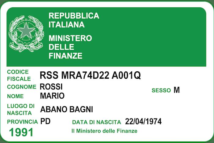 Italian Tax Code Codice Fiscale Studio Legale Metta