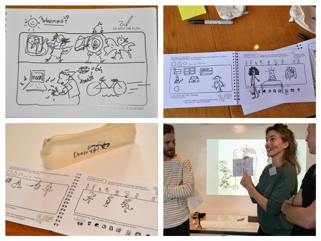 Collage foto's Workshop Zakelijk Tekenen Draw up! Teken warming up. Squiggle birds. Presenteren,
