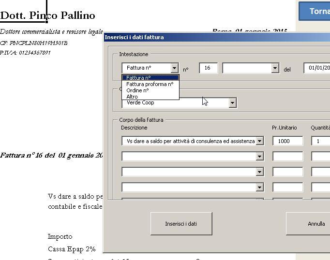 Inserimento Fattura Minimi Excel
