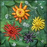 """""""Stellar Vegetable Cluster"""" - A formation at the heart of the galaxy living in my garden. My imaginary universe where space is an aether of hostas and amaranth and where nebulae consist of garlic chives flowers. An abstract reality where shines """"Red Cayenne Spider Sun"""", """"Star of Hansel"""" (names for the eggplant in its body), """"Lemon Drop Pepper Sun"""" and """"Pumpkin Pepper Star."""""""