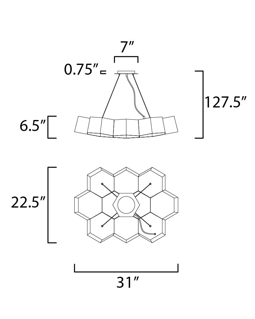 Honeycomb 10-Light LED Chandelier