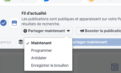 bouton programmer facebook