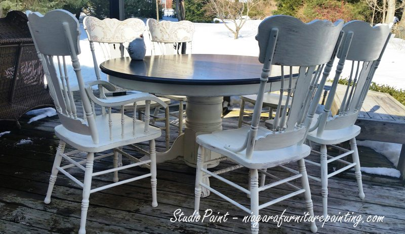 Painted Pressback Oak Chairs and Table