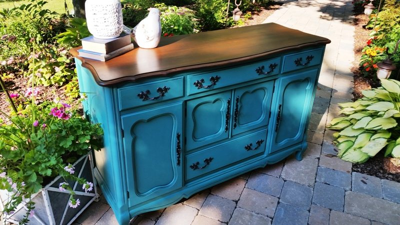 turquoise french provincial buffet