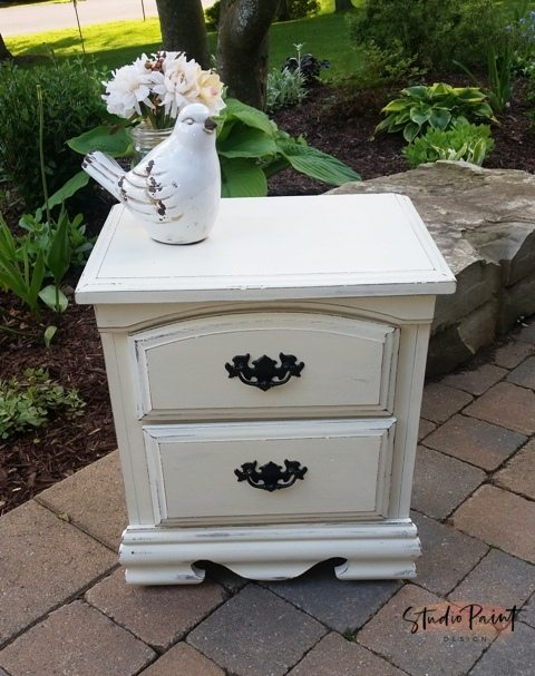 painted country chic night end table
