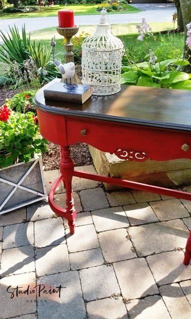 Emperor's Silk painted sofa table desk