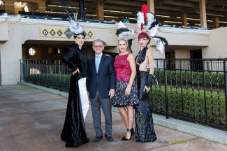 The leader of the show, DMTC President Joe Harper poses with Fashion Contest Director Deena Von Yokes, models Christianna and Whittaney during the 2015 Bing Crosby Opening Day at Del Mar.