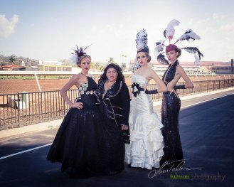 Fashion Designer Gladis Alvarenga is pictured with Brooke, Hannah and Christianna in 3 of her beautiful dresses at 2015 Bing Crosby Opening Day at Del Mar