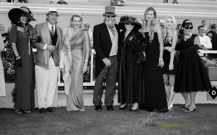 The 1st and 2nd place finalists in the Winners Circle at the 2015 Bing Crosby Opening Day at Del Mar