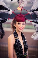 Christianna Knutson in pin-wheel styled head dress by Deena and Studio Savvy at 2015 Bing Crosby Opening Day at Del Mar