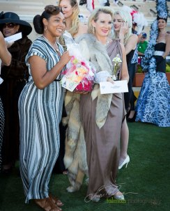Drea presents the Grand Prize to Celebrity Look-Alike of Lauren Becall at 2015 Bing Crosby Opening Day at Del Mar